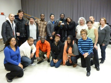 The Hunter College Haitian Drum Workshop at its last meeting with Frisner, December 26, 2011