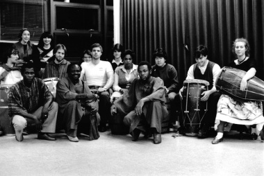The Hunter College Haitian Drum Workshop in its first semester, Autumn 1983
